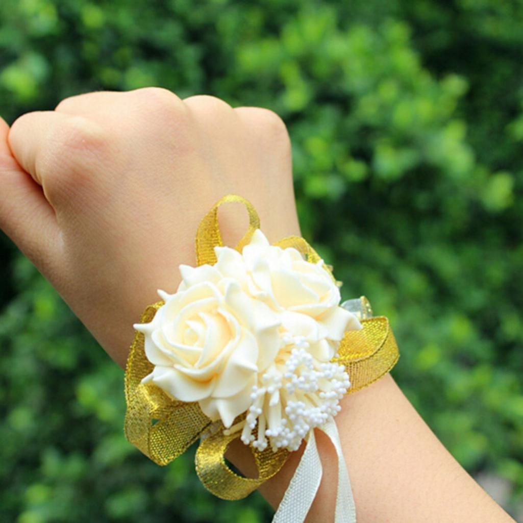 SoundsBeauty Foam Rose Flowers Bridal Bridesmaid Wrist Corsage Wedding Party Ribbon Bracelet - Champagne