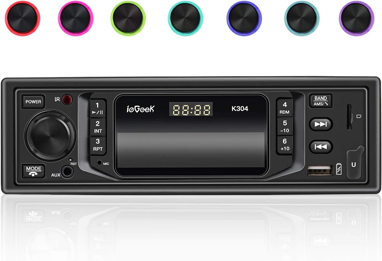 ieGeek Autoradio Bluetooth, 4×60W Llamadas Manos Libres, Universal 1 DIN Radio de Coche, 7 Colores LED, Soporta Estéreo RDS/MP3/FM/AM/SD/AUX/RST/Dual USB/Pantalla de Reloj,Remote Control