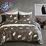 Macohome Star Map Kids Duvet Cover Set Queen Soft Microfiber Reversible Animals Printed Duvet Comforter Cover with 2 Envelope Pillowcases (Star Map, Queen)