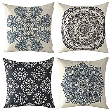 WOMHOPE 4 Pack - 17  European Classic Style Cotton Linen Square Throw Pillow Case Decorative Cushion Cover Pillowcase Cushion Case for Sofa,Bed,Chair (K (Set of 4))