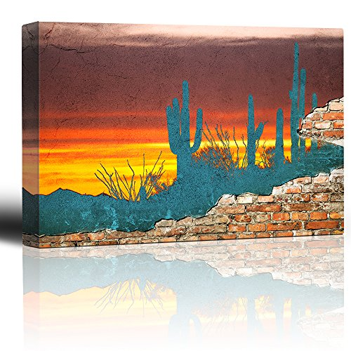 Peeling Away Brick Wall Revealing a Beautifully Colored Desert Scene