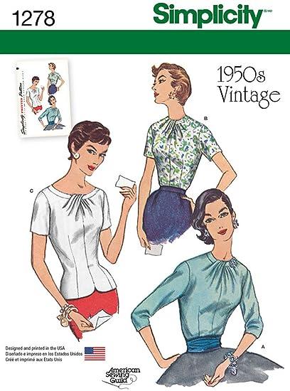 Amazon Com Simplicity Pattern 1278 1950 S Vintage Reproduction