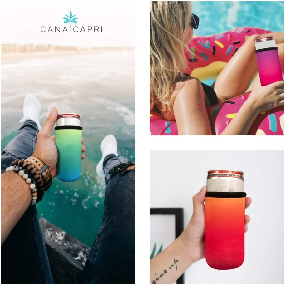 Trulys 12oz Size CANA CAPRI 6 Pack Premium Quality Summer Daze Slim Can Cooler Multi Pack Perfect for White Claw Seltzer Soft Insulated Neoprene w//Reinforced Edge Energy Drinks and More