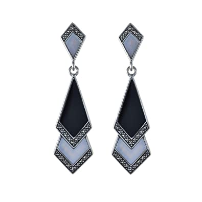 Esse Marcasite Women's Sterling Silver Mother of Pearl, Black Onyx and Marcasite Art Deco Drop Earrings