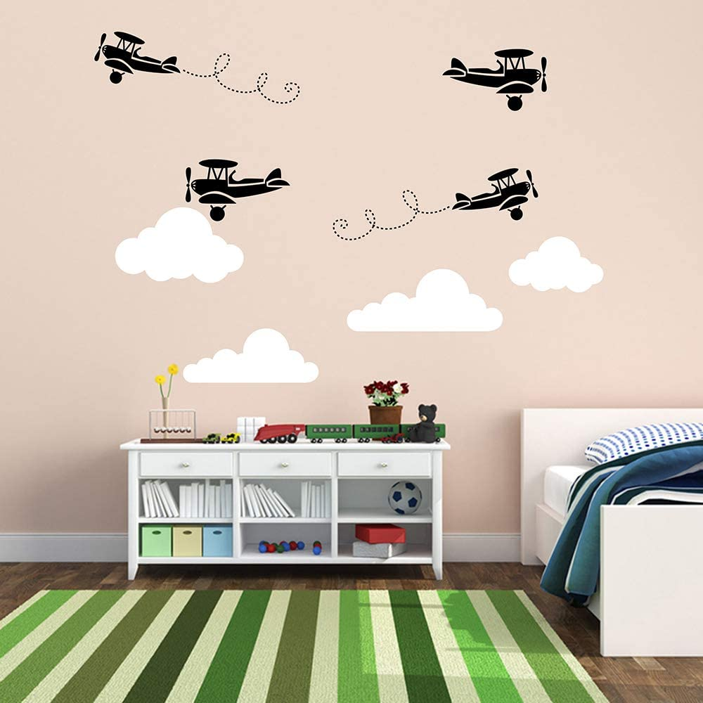 JUEKUI Airplane Wall Sticker Aircraft with Clouds Wall Decal for Baby Boys Bedroom Decoration Fighter Airplane Wall Decor WS65 (Black and White)