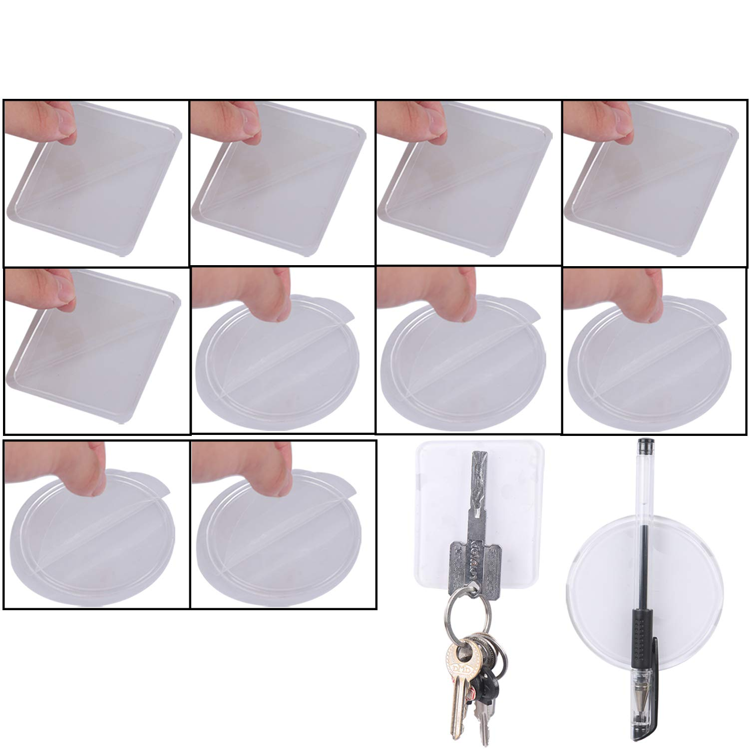 20 Pcs Sticky Gel Pads Double Sided Gel Pad Adhesive Anti Slip Wall Pad Transparent Washable Grip Tape Reusable Traceless Tape, Square and Round by Olgaa