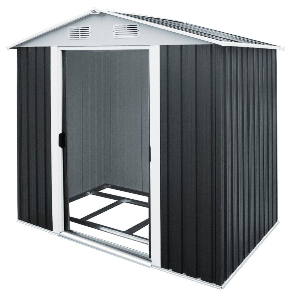 Deuba XL Metall Gerätehaus | 4,2m³ mit Fundament | 210x132x186cm | Schiebetür | Anthrazit | Geräteschuppen Gartenhaus
