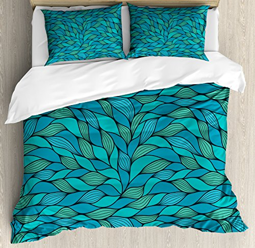 Ambesonne Teal Duvet Cover Set, Abstract Wave Design Ocean Themed Marine Life Pattern Print, Decorative 3 Piece Bedding Set with 2 Pillow Shams, King Size, Mint Green (Colored Teal Bedspreads)