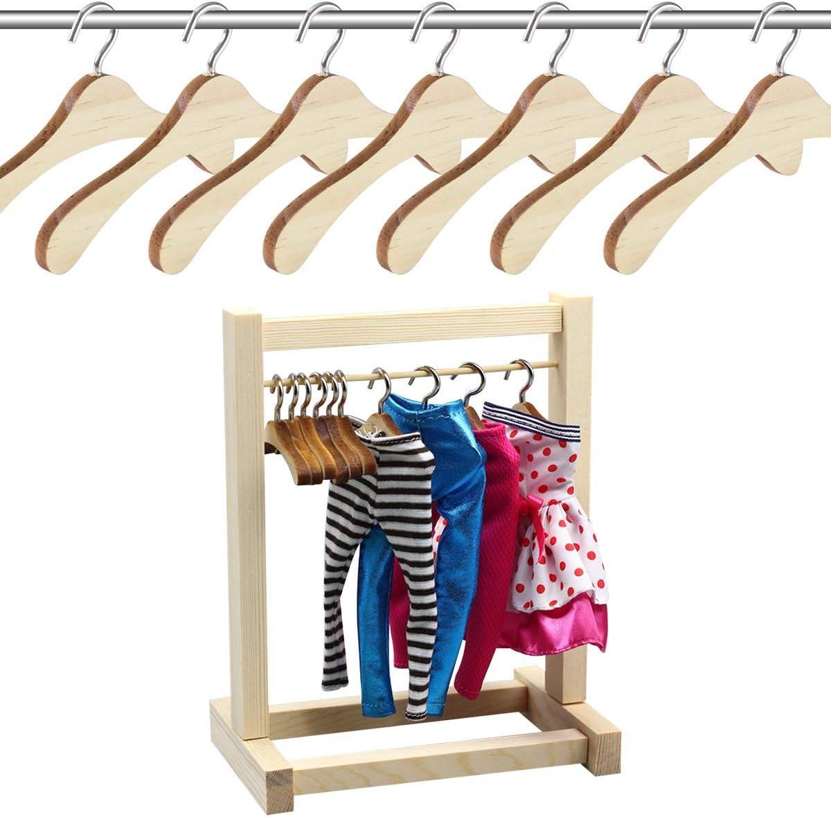 BESTOMZ 10pcs Wooden Doll Hangers Dolls Accessory Wooden Clothes Hanger 1//3 BJD Wooden Doll Hangers w//Clips Dolls Accessory Coat Hangers