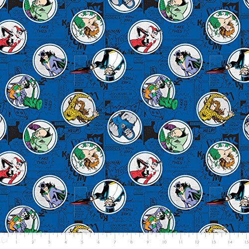 DC Comics Villains in Royal Blue Premium Cotton Fabric by the Yard