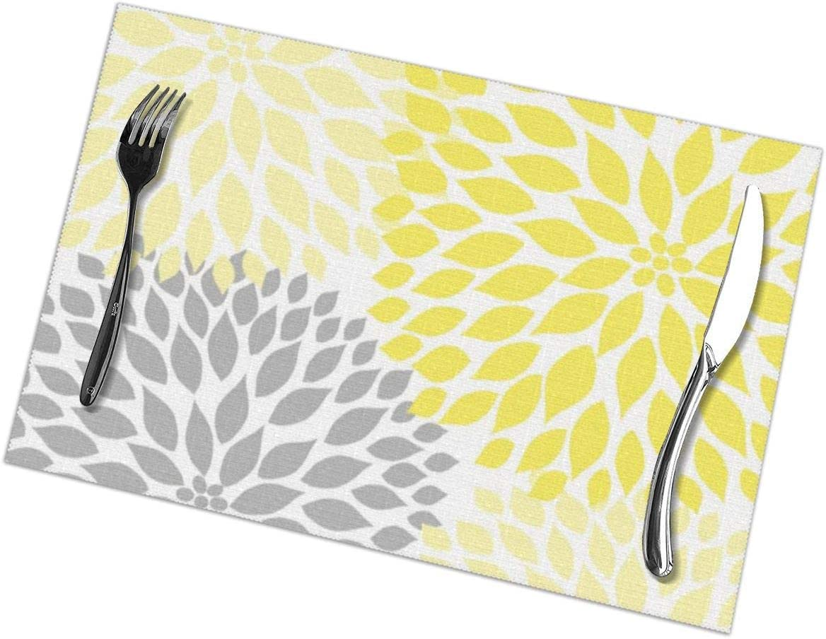 Farmhouse Table Decor Set of 6 Fabric Placemats Yellow Floral Patchwork