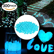 100 Pcs Glow in the Dark Garden Pebbles, Cozzine Garden Decor Glowing Stones Luminous Rocks for Outdoor Walkway Driveway, Fish Tank Aquatium Glow Decorations (Deep Blue)