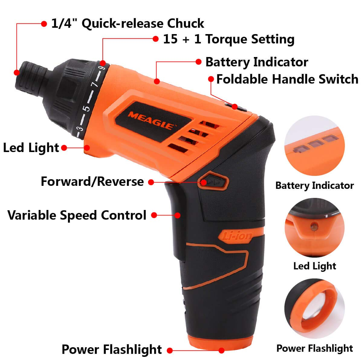 """1//4/"""" Chuck Meagle Rechargeable Electric Screwdriver Cordless 1 Torque Setting,SD03-1036 Adjustable Handle 3.6V 1.3 Ah Lithium-Ion Battery Power 15 40 in-lb//4.5 N.m Max Torque"""