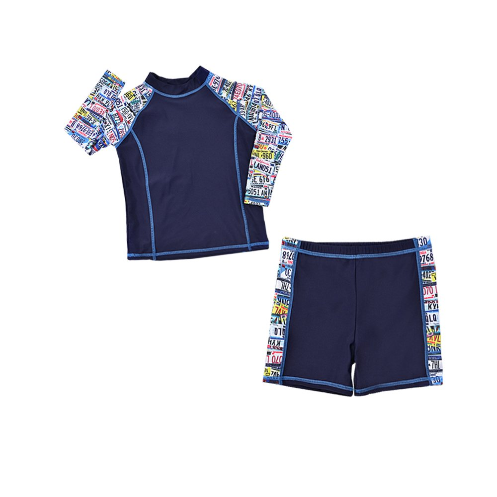 Boys Swimsuit Swim Trunks Shirts Two Piece Sun Protective Swimwear 5-12 Years
