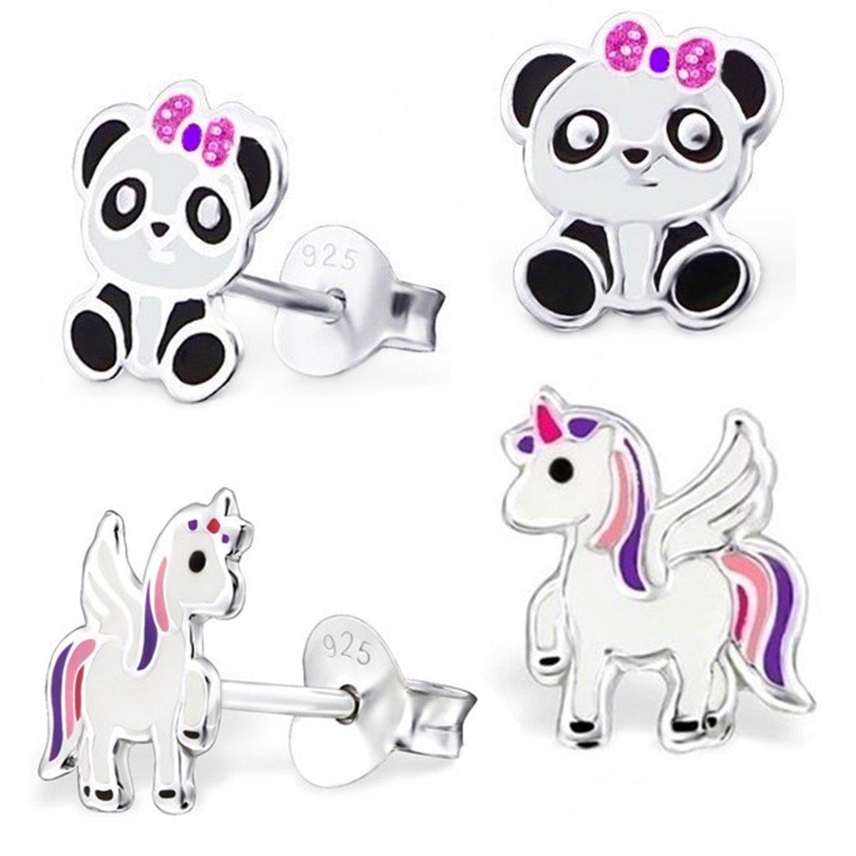 Set de 2paires de boucles d'oreilles Pégase licorne et panda GH - En argent 925 - Pour filles GH-1a SE-0119k/8