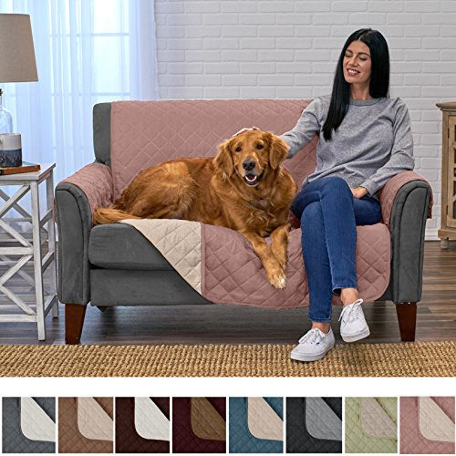 Home Fashion Designs Deluxe Reversible Quilted Furniture Protector and PET PROTECTOR. Two Fresh Looks in One. Perfect for Families with Pets and Kids. By Brand. (Love Seat, Misty Rose/Birch)