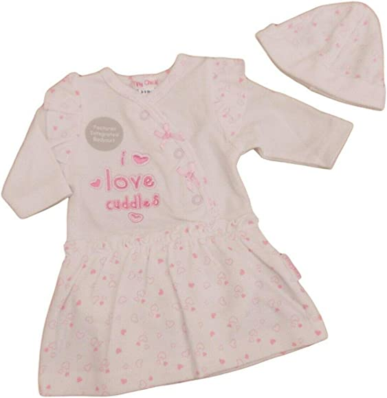 BNWT Tiny Premature Preemie Baby Girls 3 Piece Pinafore Dress /& hat