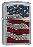 Zippo Diamond Plate Flag Street Chrome Pocket Lighter