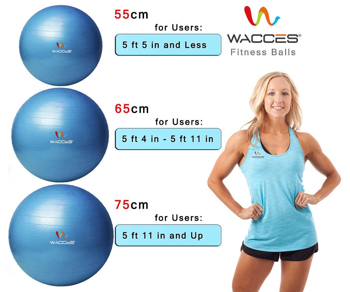 Wacces Professional Exercise, Stability and Yoga Ball for Fitness, Balance & Gym Workouts- Anti Burst - Quick Pump Included (Yellow, 75 cm) by Wacces (Image #4)