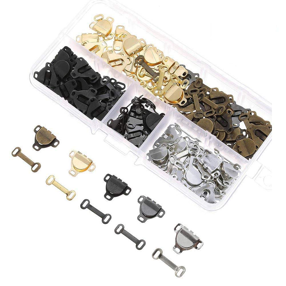 75 Pairs Sewing Hooks and Eyes Closure for Trousers, Skirts, Dress Sewing DIY Craft Supplies Feihoudei