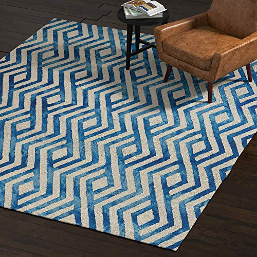 Amazon Brand – Rivet Modern Geometric Area Rug, 8 x 10 Foot, Blue, Ivory