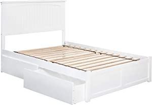 Atlantic Furniture Nantucket Platform Bed with 2 Urban Bed Drawers, Full, White