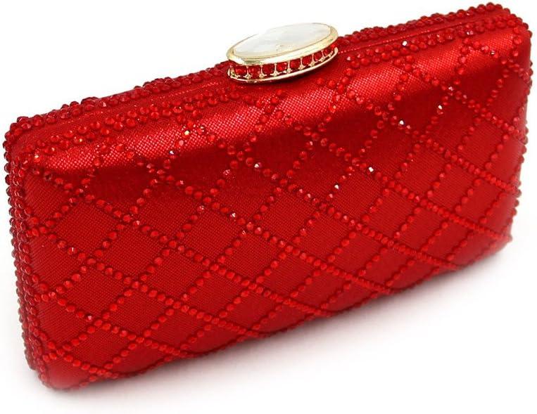 Damen Clutches Frauen Stilvolle Abend Handtasche Party Clutch Bag Prom Clutch Geldbörse Bankett Kosmetiktasche (Color : Champagne) Red