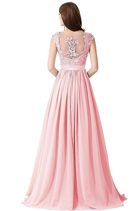 Vestido con encaje y bella decoración en la espalda