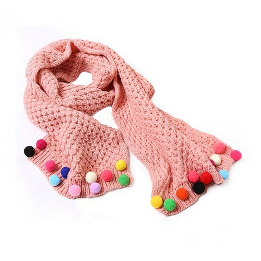 Butterme Kids Baby Girls Warm Winter Scarf Neck Warmer Knitting Wool Candy Colours Scarves Christmas Gift (Pink) ZT00087P