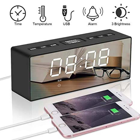 """RCruning-EU Despertador Multifunción 6.5"""" Reloj Despertador Digital Espejo LED Despertador Electrónico Radio FM"""