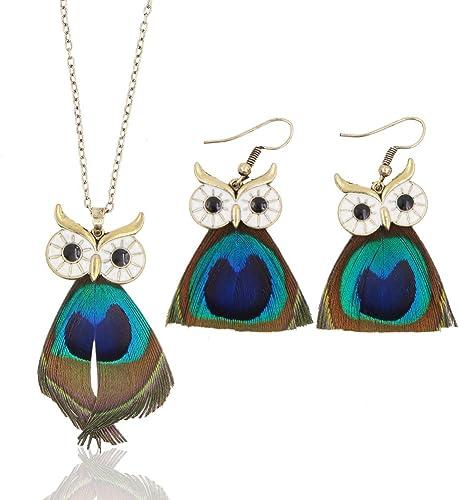 Boho Women Peacock Turquoise Pendant Chain Necklace Earrings Wedding Jewelry Set