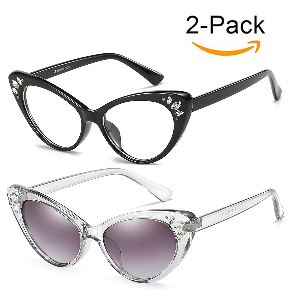 Vintage Cat Eye Sunglasses For Women Rhinestone High Pointed Clout Goggles (Black/Transparent+Grey/Black,2pcs)
