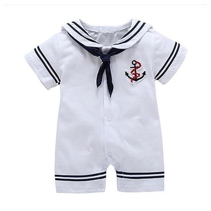 Traje para bebé recién nacido, diseño de rayas de algodón azul marino, traje de