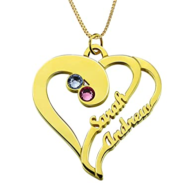 Amazon custom 2 name necklace personalized 18k gold plated custom 2 name necklace personalized 18k gold plated sterling silver love heart pendant with birthstone couples aloadofball Gallery