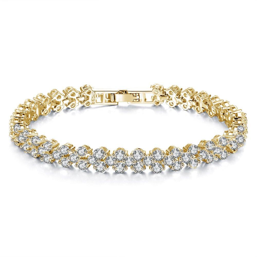 Cyntan Rhinestone Crystal Tennis Bracelet For Girls Women Wedding (Gold # 1)