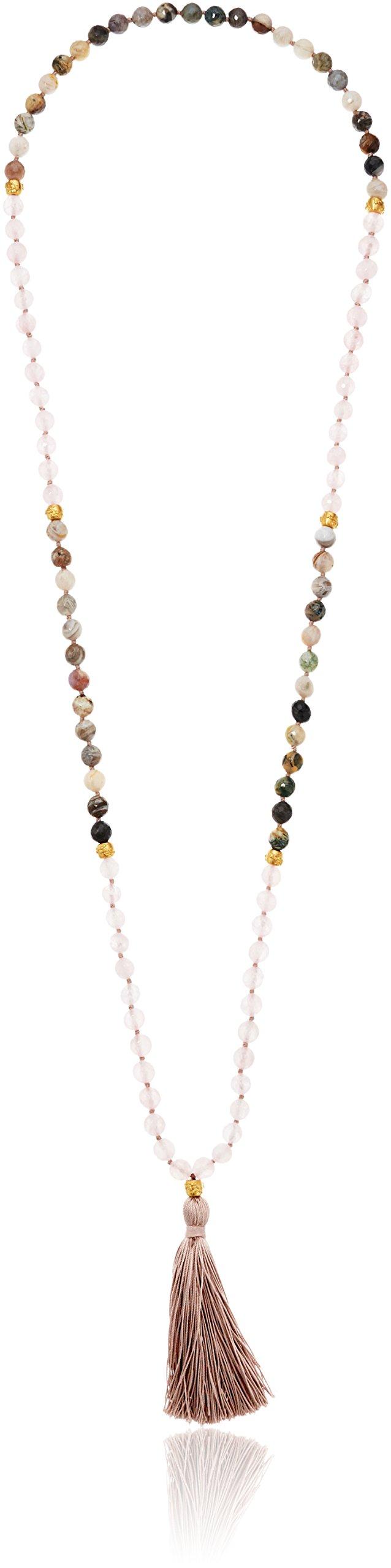 Satya Jewelry Rose Quartz & Agate Gold Plated Cherry Blossom Mala Tassel Strand Necklace