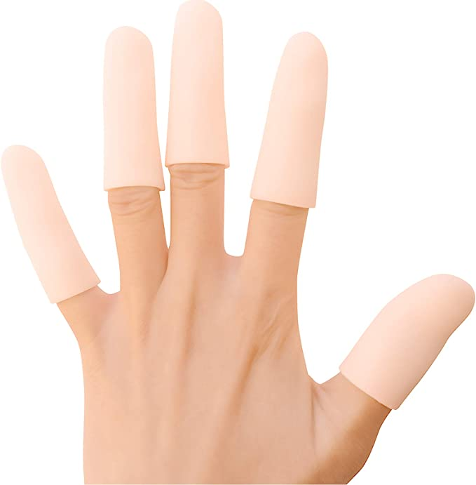 Hand Eczema Finger Sleeves for Protect Fingertips Finger Cracking and More color Champagne Bukihome 12 Pack Gel Finger Cots Finger Protectors