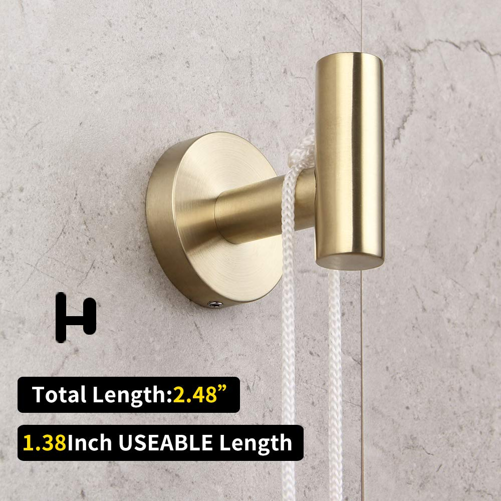 Bathroom Hardware Set 4 Pieces Brushed PVD Zirconium Gold SUS 304 Stainless Steel Bathroom Hardware Accessories Sets Wall Mounted Double Towel Bar Towel Holder Hook Toilet Paper Holder by GERZ (Image #6)