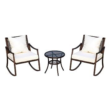 Sedie A Dondolo Vicenza.Giardino Da 2 A Sedie Dondolo Con Cuscini Set Tavolino