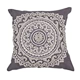 Jaipur Floral Pattern Dark Gray Cotton Polly Fill Pillow, 22-Inch x 22-Inch, Eiffel Tower Jen07