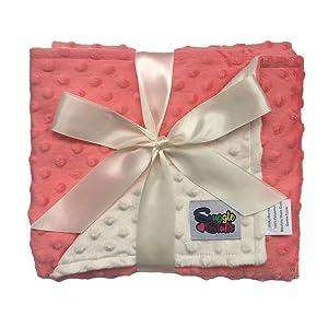 Reversible Baby Blanket Minky Dot (Coral/Cream)
