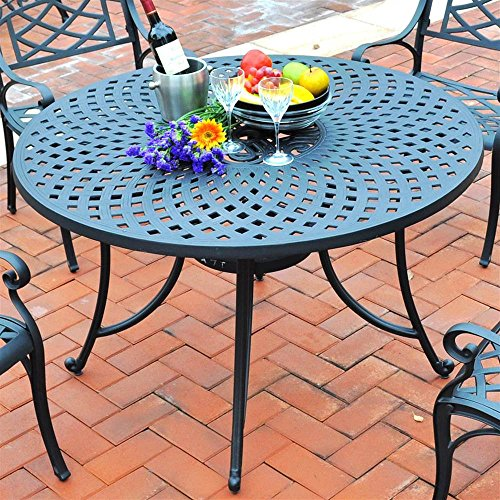 Crosley Furniture Sedona 48-inch Solid-Cast Aluminum Outdoor Dining Table - Black (Round Metal Patio Table)