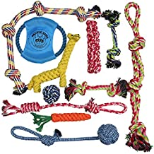 DOG ROPE TOYS FOR AGGRESSIVE CHEWERS – SET OF 11 NEARLY INDESTRUCTIBLE DOG TOYS – BONUS GIRAFFE ROPE TOY - BENEFITS NONPROFIT DOG RESCUE