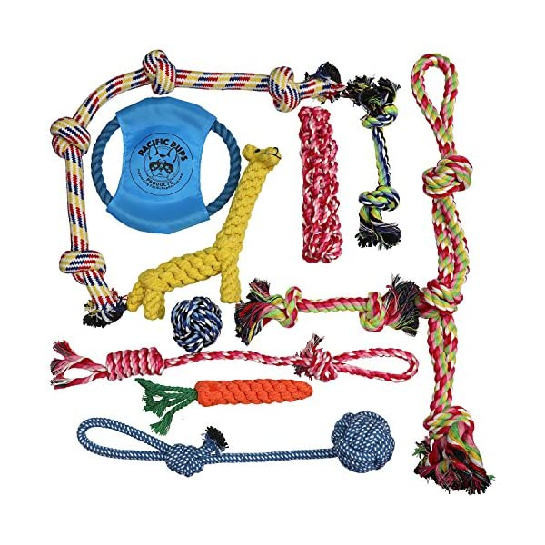 Pacific Pups Products supporting pacificpuprescue.com Dog Rope Toys for Aggressive Chewers – Set of 11 Nearly Indestructible Dog Toys – Bonus Giraffe Rope Toy – Benefits NONPROFIT Dog Rescue