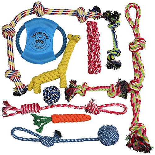 DOG ROPE TOYS FOR AGGRESSIVE CHEWERS – SET OF 11 NEARLY INDESTRUCTIBLE DOG TOYS – BONUS GIRAFFE ROPE TOY - BENEFITS NONPROFIT DOG RESCUE (Large Dog Toys Rope)