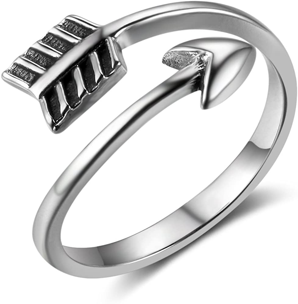 MASOP Sterling Silver Adjustable Arrow Rings for Women Men Vintage Open Band Boho Stackable Knuckle Finger Thumb Ring Jewelry