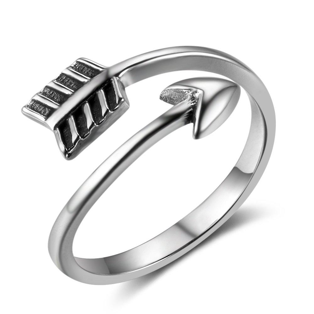 MASOP Vintage Adjustable Arrow Rings for Women Men Sterling Silver Open Boho Stackable Knuckle Finger Jewelry