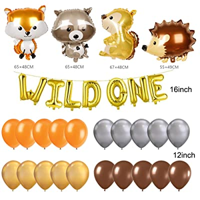 Wild One Balloons, Woodland Fox Jungle Forest Party Decorations, Raccoon Hedgehog and Squirrel Animals Balloons, Feather Arrow Teepee Boho Tribal Party Banner, Wild One Baby Shower 1st Birthday Party Supplies Decorations: Toy