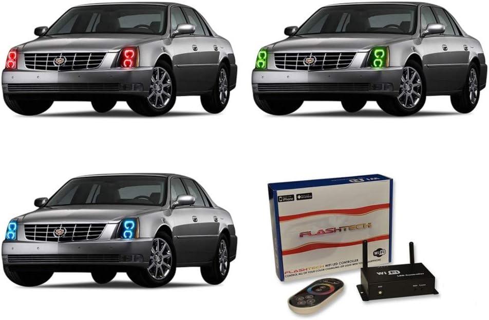 Amazon Com Flashtech For Cadillac Dts 06 11 Blue Single Color Led Halo Ring Headlight Kit Automotive