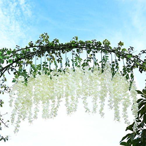 Flores de glicina artificiales Unomor, de 1 m, para colgar y ...